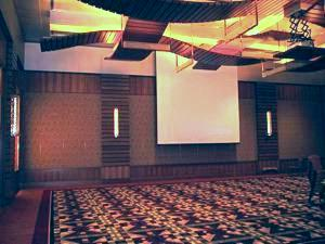 Ballroom with projector lift and screen