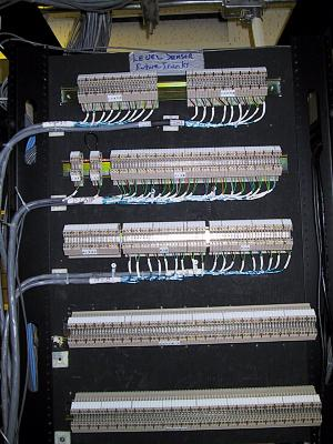 Emergent Systems Corp - terminations in a rack at the Calgary Airport