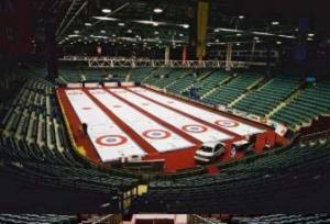 ice surface setup for curling event